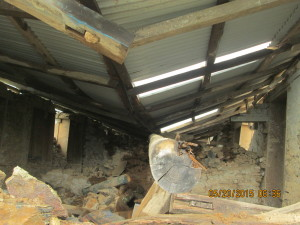 Inside the damaged classroom