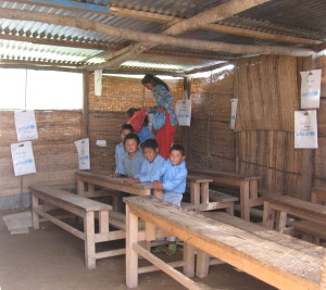 Inside temporary classrooms