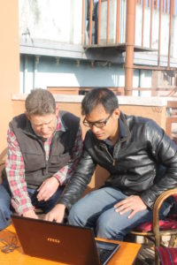 Ross working with the Nepalese architect Sabin Shrestha