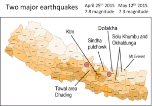 Map showing the earthquake epicentres and the reas where NAFA have projects