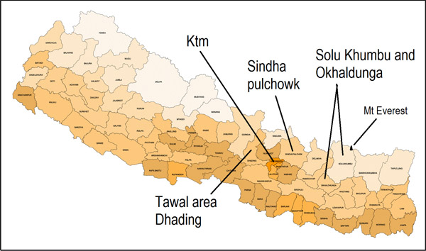 district map nepal